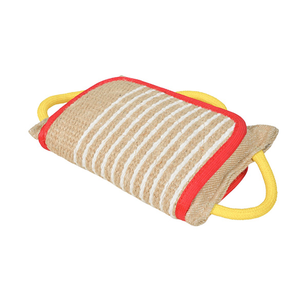 Strong Jute Dog Bite Pillow with 3 Handles