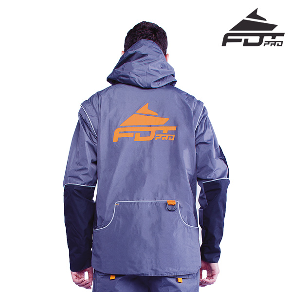 FDT Professional Dog Tracking Jacket of Grey Color with Reliable Side Pockets